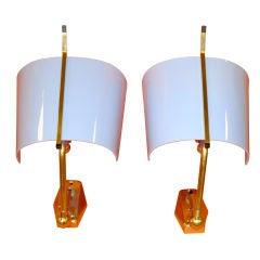 Pair of Stilnovo Articulating Brass & Blue Plexi Sconces