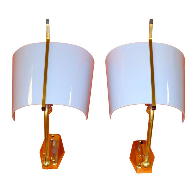 Pair of Stilnovo Articulating Brass & Blue Plexi Sconces