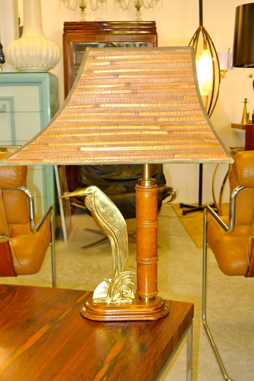 Mid-20th Century French 1950's Bamboo Table Lamp For Sale