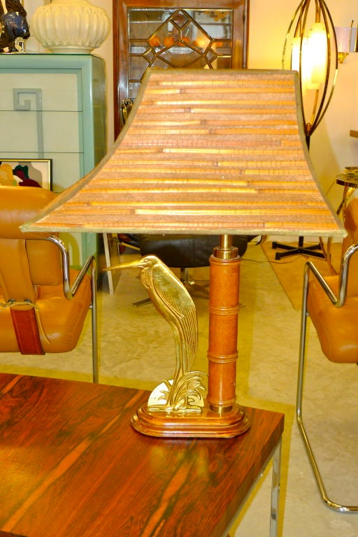 French 1950's Bamboo Table Lamp For Sale 1
