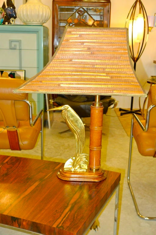 French 1950's Bamboo Table Lamp For Sale 2
