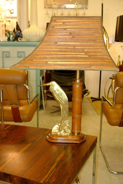 French 1950's Bamboo Table Lamp For Sale 5