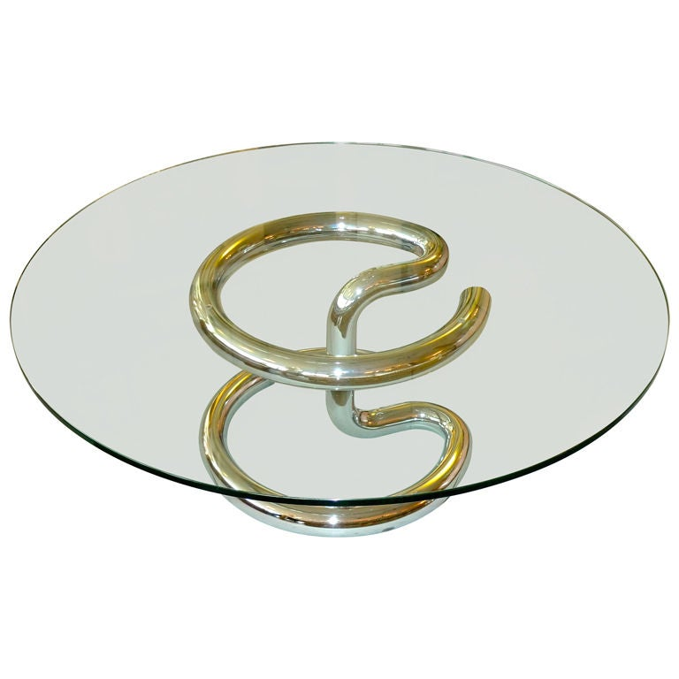 Tubular Chrome Coffee Table: 1970's Tubular Chrome Round Cocktail Table By Paul Tuttle
