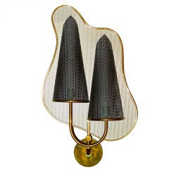 Rare Jacques Biny Perforated Metal Wall Sconce