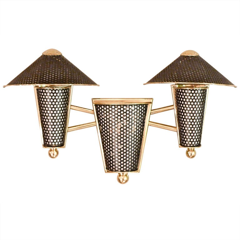 Three Light Wall Sconce Attributed to Jacques Biny