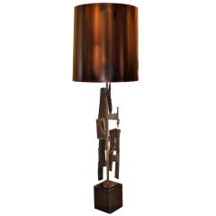 Monumental Brutalist Iron Lamp by Richard Barr for Laurel