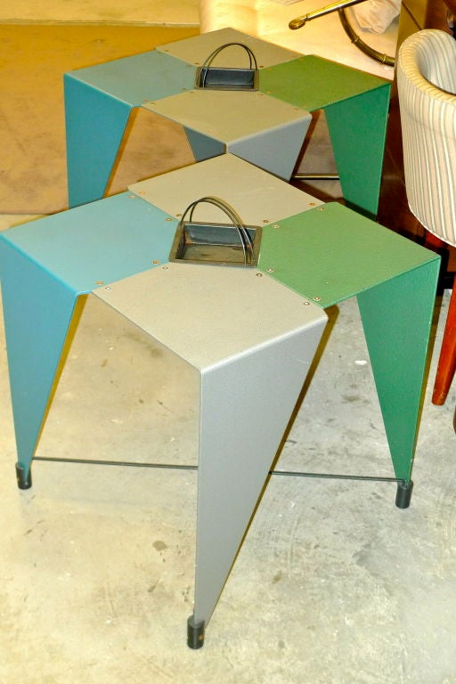Italian Pair of Harlequin Tables For Sale