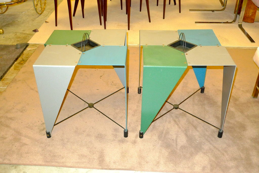 Iron Pair of Harlequin Tables For Sale