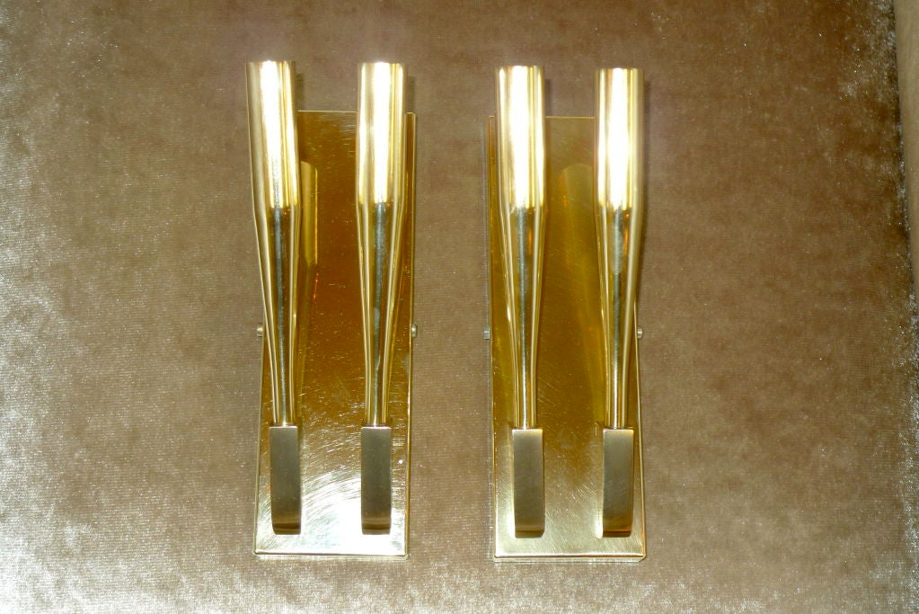 Pair of Brass Sconces attributed to Gio Ponti In Excellent Condition For Sale In Hingham, MA
