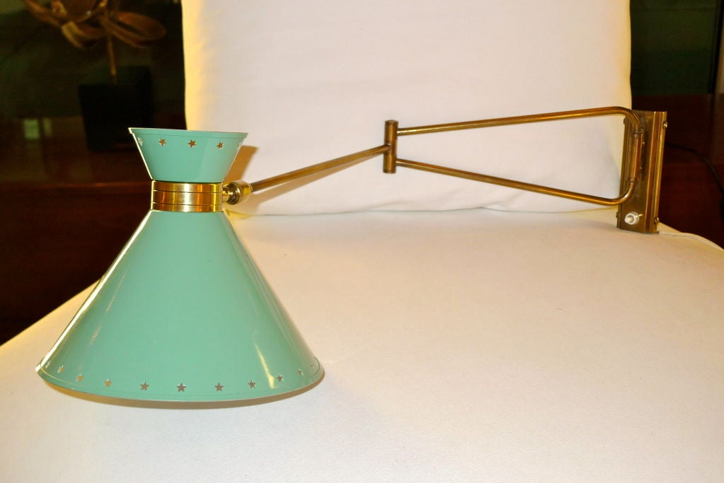 R. Mathieu for Lunel Swing Arm Wall Sconce in Green For Sale 1