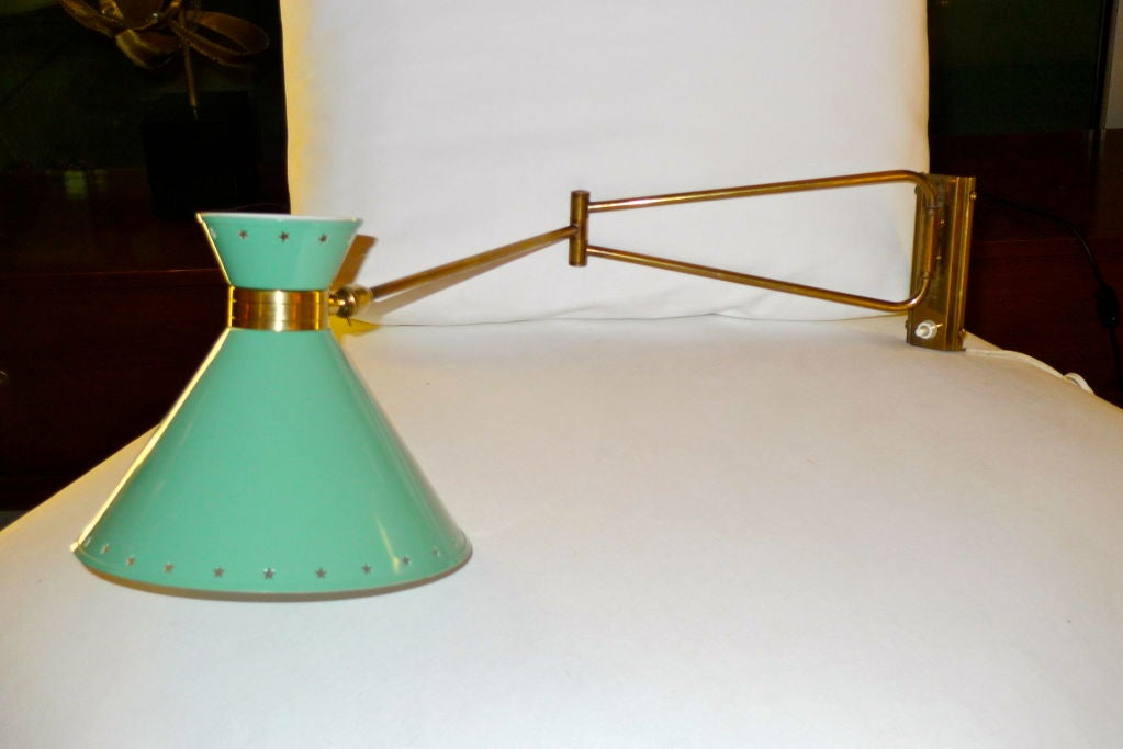 R. Mathieu for Lunel Swing Arm Wall Sconce in Green For Sale 2