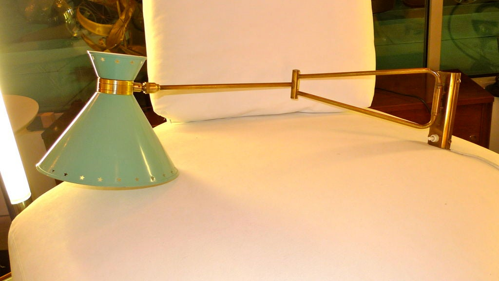 R. Mathieu for Lunel Swing Arm Wall Sconce in Green For Sale 3