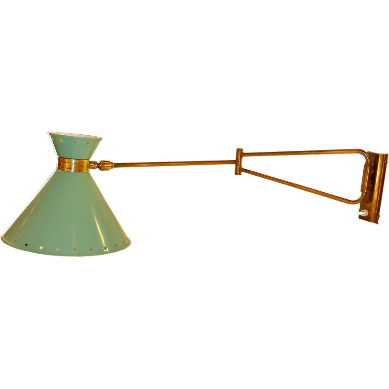 Rene Mathieu For Lunel Swing Arm Wall Sconce In Green For Sale