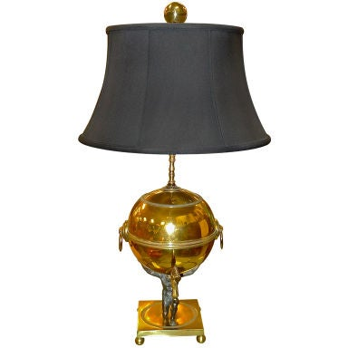Atlas Globe Table Lamp With Black