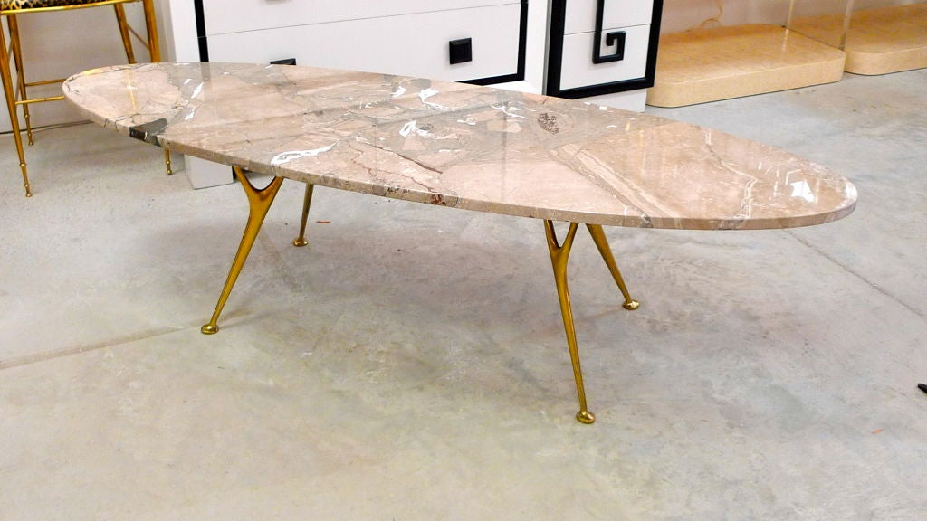 Mid-Century Modern Elliptical Italian Marble Cocktail Table with Cast Solid Bronze Legs For Sale