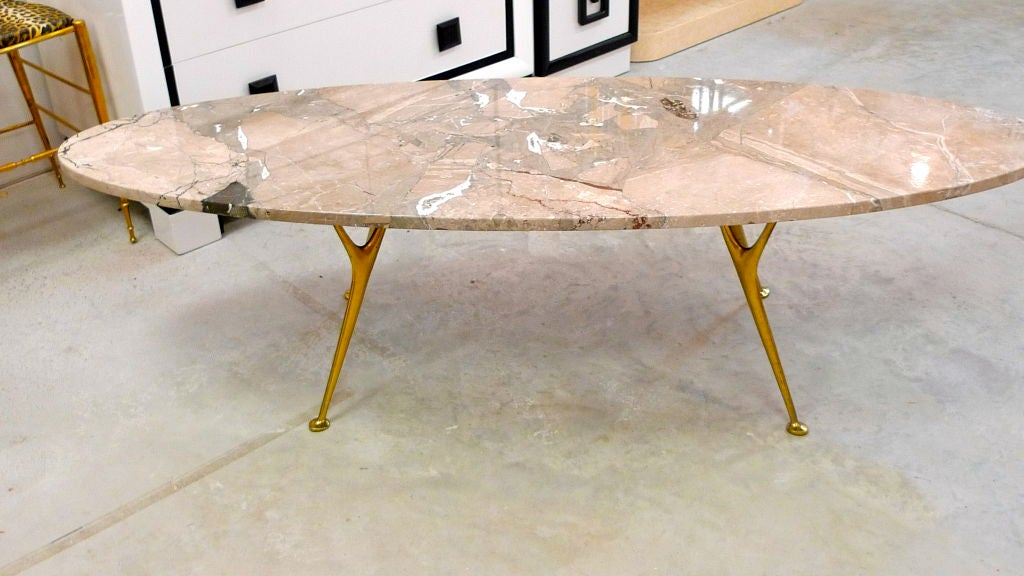 Polished Elliptical Italian Marble Cocktail Table with Cast Solid Bronze Legs For Sale