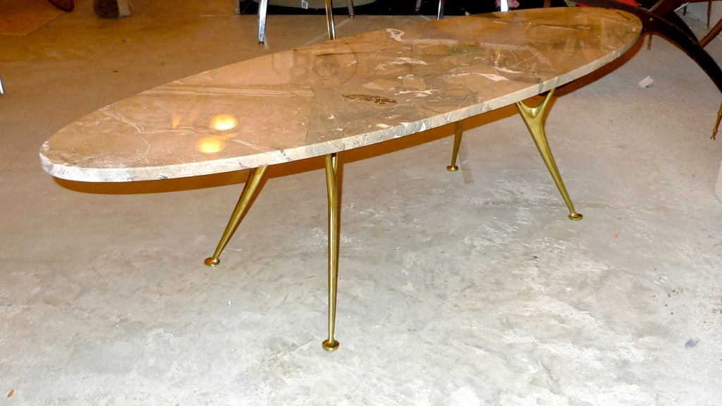 Contemporary Elliptical Italian Marble Cocktail Table with Cast Solid Bronze Legs For Sale