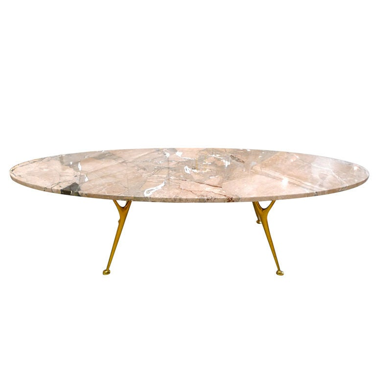 Elliptical Italian Marble Cocktail Table With Cast Brass Legs At