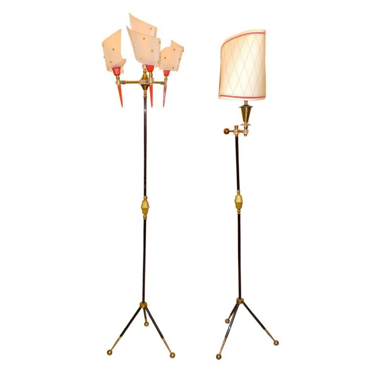 Pair of Whimsical French Modernist Tripod Floor Lamps