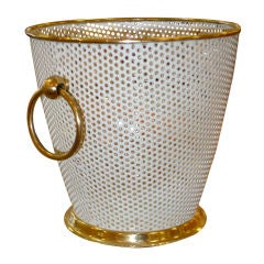 French 1950's Perforated Metal Ice Bucket