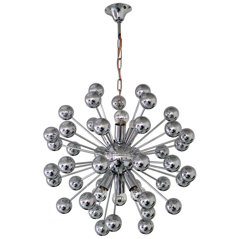 1970's Chrome Sputnik Chandelier