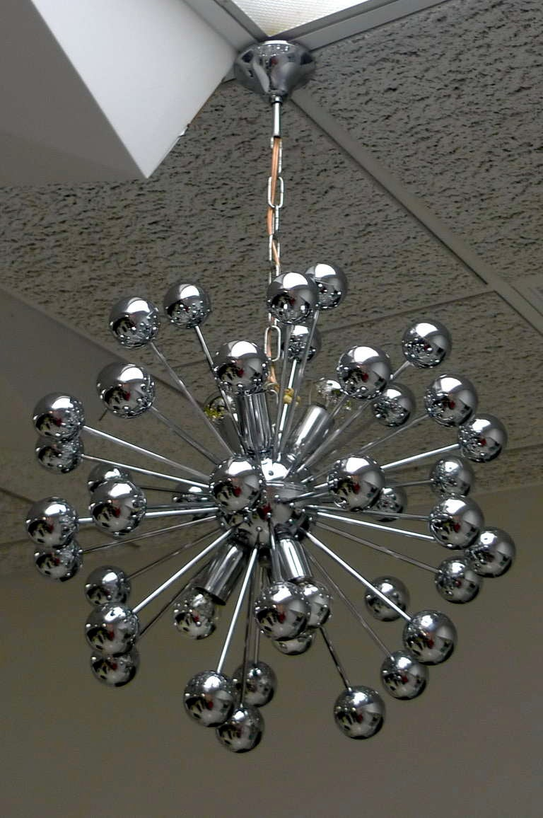 Mid-Century Modern 1970's Chrome Sputnik Chandelier For Sale