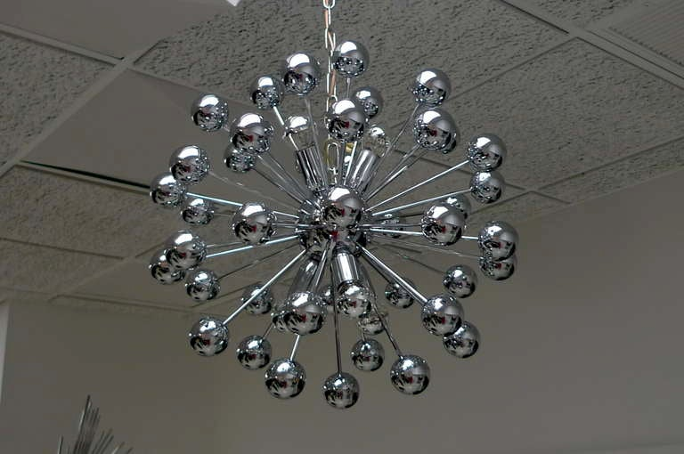 German 1970's Chrome Sputnik Chandelier For Sale