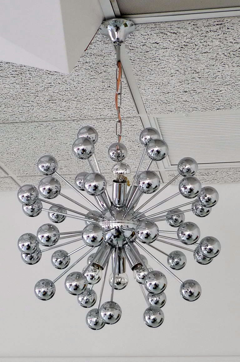 Late 20th Century 1970's Chrome Sputnik Chandelier For Sale