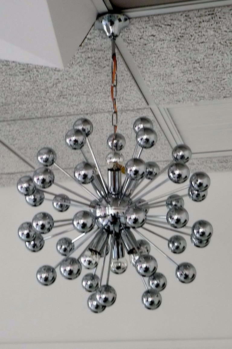 1970's Chrome Sputnik Chandelier For Sale 1