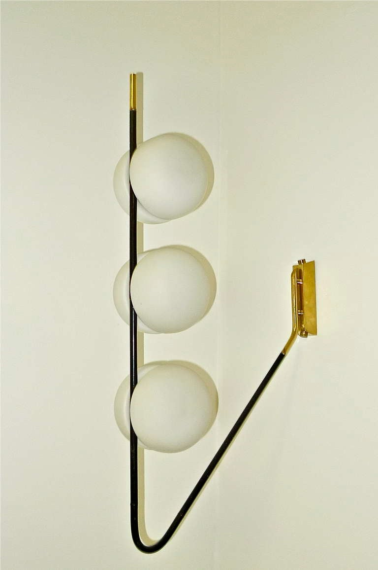 Brass French 1950's 6 Globe Wall or Ceiling Lamp by Lunel For Sale