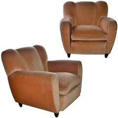 Pair of 1940's Italian Armchairs attr. to Guglielmo Ulrich