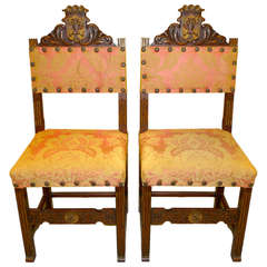 Pair of Carved Spanish Hall Chairs in Original Vintage Fortuny