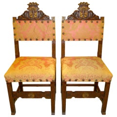 Pair of Antique Carved Spanish Hall Chairs in Original Vintage Fortuny