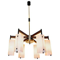 Stilnovo Attributed Six Arm Chandelier with Opaline Box Shades