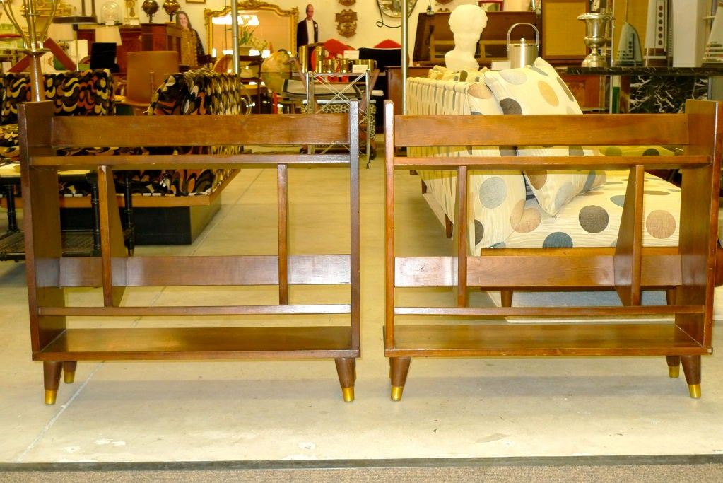 Mid-20th Century Pair of Small Modernist Book Shelves For Sale