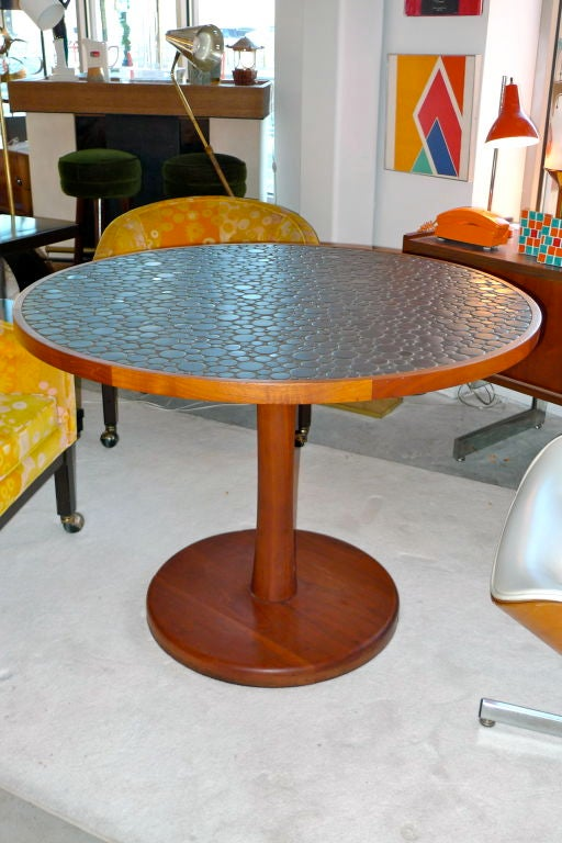 ceramic pebble tile top dining table by gordon martz for sale at