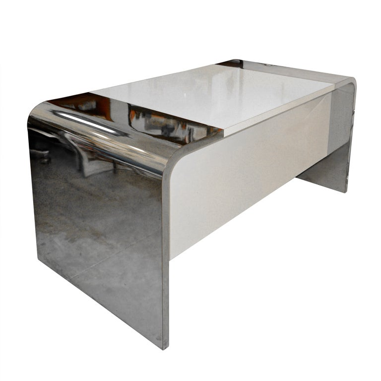 White Waterfall Tables ~ S waterfall desk in chrome white laminate