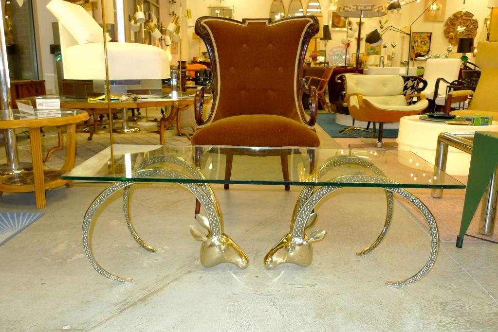 Hollywood Regency Brass Ibex Gazelle Heads Coffee Table