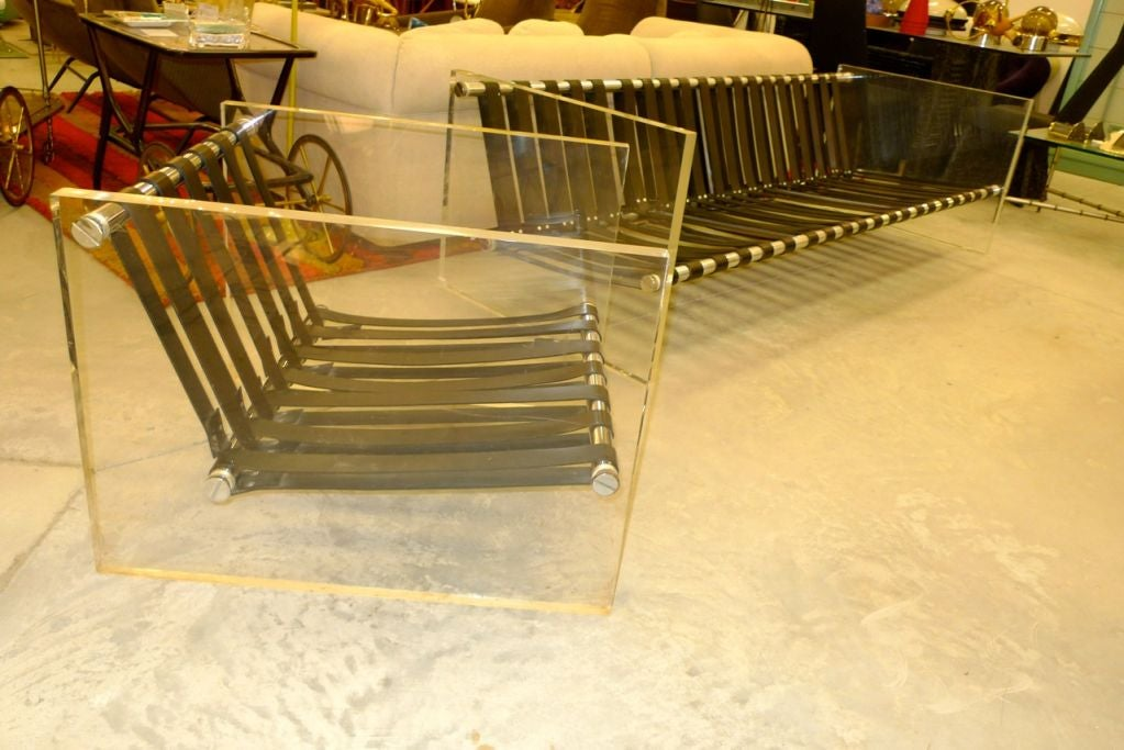 Vintage Lucite Sided Sofa With Aluminum Frame Leather