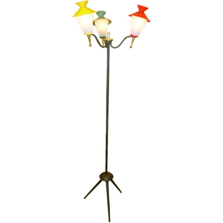Three Lantern Tripod Floor Lamp by Arlus