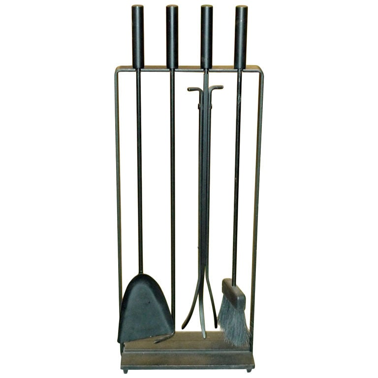 Fireplace Design iron fireplace tools : Polished Brass and Black Iron Fireplace Tool Set made by Pilgrim ...