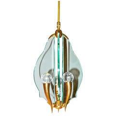 Italian Bronze & Glass Chandelier