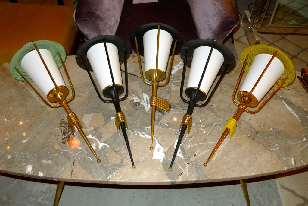 Mid-20th Century Pair of French 1950's Lantern Sconces For Sale