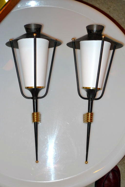 Pair of French 1950's Lantern Sconces For Sale 1