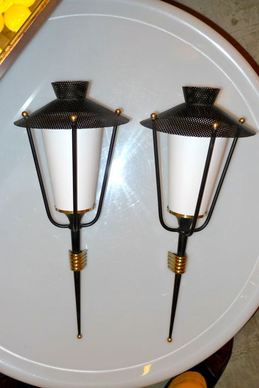 Pair of French 1950's Lantern Sconces For Sale 2
