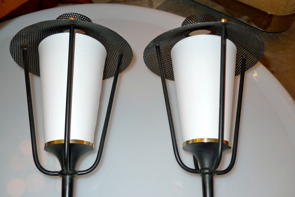 Pair of French 1950's Lantern Sconces For Sale 3
