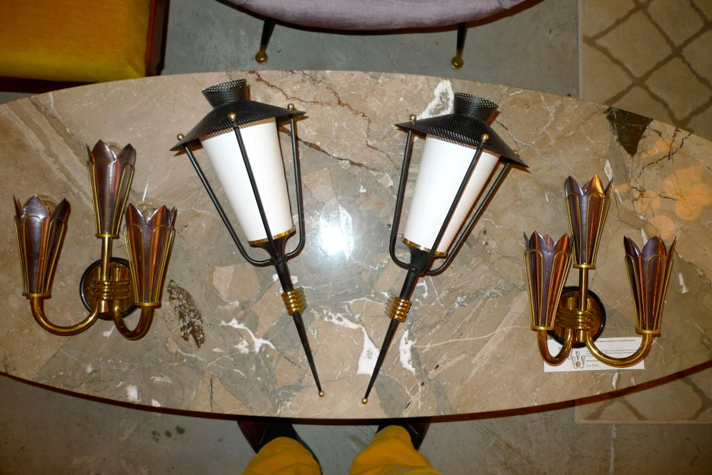 Pair of French 1950's Lantern Sconces For Sale 5