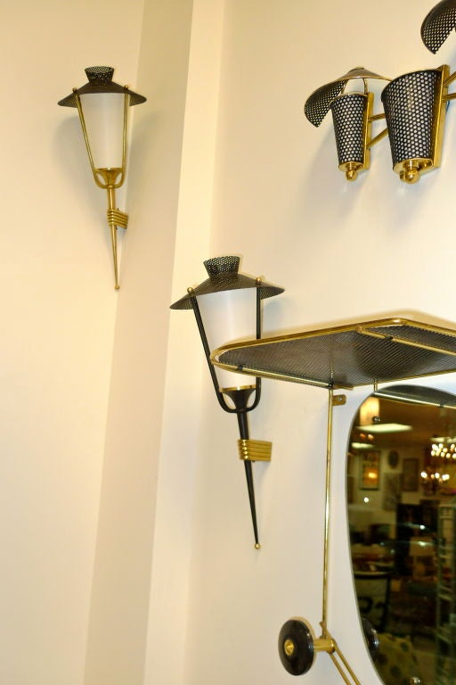 Pair of French 1950's Lantern Sconces For Sale 7
