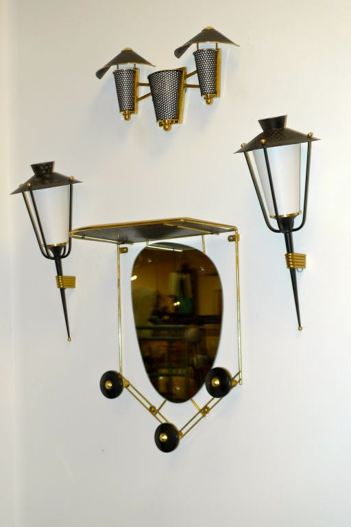 Pair of French 1950's Lantern Sconces For Sale 6