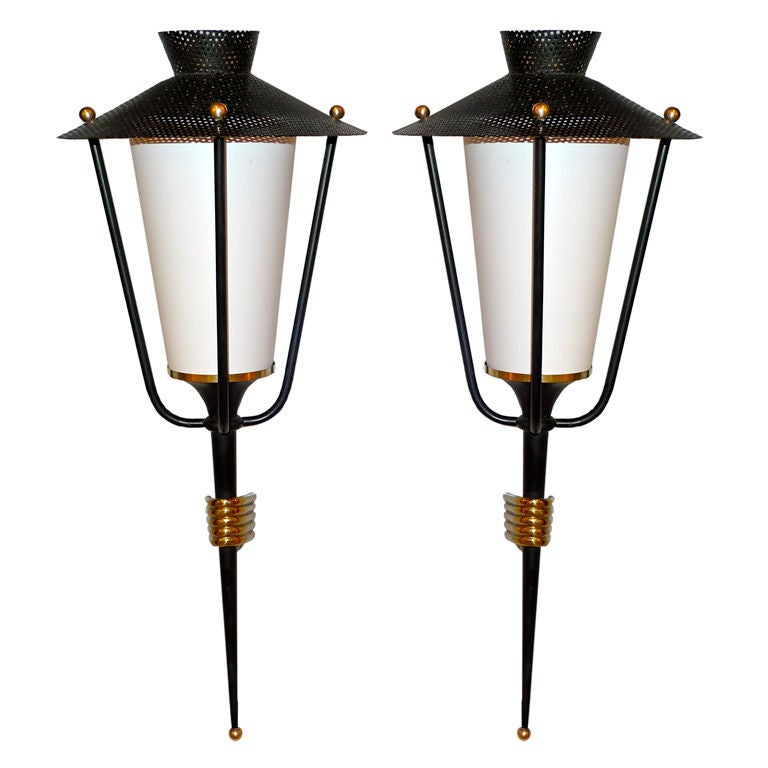 Pair of French 1950's Lantern Sconces For Sale